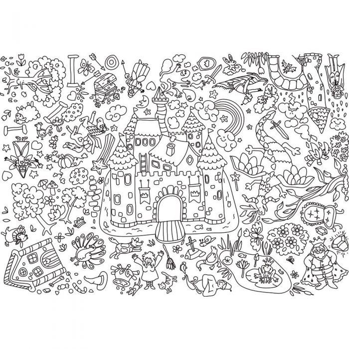Coloriages Geants Theme Chateaux Lot De 5 Papier A Peindre Support Papier Support Dessin Loisirs Creatifs