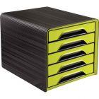 CEP - 1071110301 - Module 5 tiroirs classique noir et vert anis