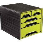 CEP - 1072130301 - Module 5 tiroirs panachés noir et vert anis