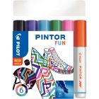 PILOT - Marqueur peinture Pintor Fun à base d'eau pointe moyenne - Pochette de 6