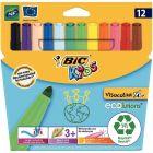 BIC - 24925 - Feutre Visacolor XL pointe extra large assorti - Pochette de 12