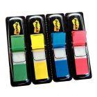 POST-IT -Carte de 4x35 index - format étroit 12 mm- couleur assortie bleu, rouge, vert et jaune