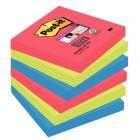 POST-IT - Paquet de 6 blocs de 90 feuilles Super Sticky, 76 x 76 mm, couleurs Vitaminées : coquelicot, vert Néon et bleu océan