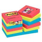 POST-IT - Paquet de 12 blocs de 90 feuilles Super Sticky, 51 x 51 mm, couleurs Vitaminées : coquelicot, vert Néon et saphir