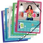 POLLEN - Chemises 3 rabats à élastiques personnalisables 5/10e, format 24 x 32 cm, couleurs assorties - Carton de 20