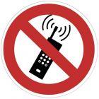 Panneau signalétique en PVC rond adhésif - Portables interdits