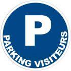 Panneau signalétique en PVC rond adhésif - Parking visiteurs