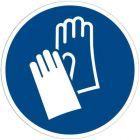 Panneau signalétique en PVC rond adhésif - Gants de protection obligatoires