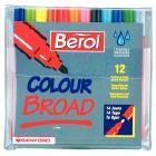 Berol - 000080 - Feutre pointe moyenne colourbroad assorties - Pochette de 12