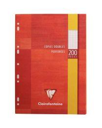 Clairefontaine - 4711 - Copie double grand carreaux perforée A4 blanc  - Etui de 50