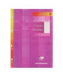 Clairefontaine - 4712 - Copie double petit carreaux perforée A4 blanc - Etui de 50