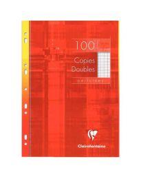Clairefontaine - 479102 - Copie double grand carreaux perforée A4 blanc  - Etui de 100