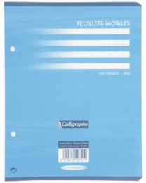 Clairefontaine - 751 - Feuille mobile grand carreaux blanc 17x22 cm - Sachet de 50