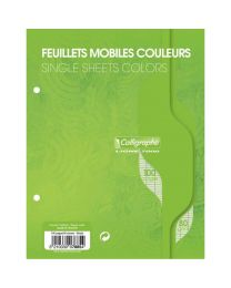 Clairefontaine - 1089 - Feuille mobile grand carreaux vert 17x22 cm - Sachet de 50