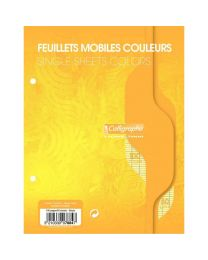 Clairefontaine - 7884 - Feuille mobile grand carreaux jaune 17x22 cm - Sachet de 50
