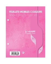 Clairefontaine - 7883 - Feuille mobile grand carreaux rose 17x22 cm - Sachet de 50