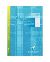 Clairefontaine - 1731 - Feuille mobile grand carreaux blanc A4 - Etui de 50