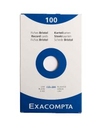 Exacompta - 13303E - Fiche bristol non perforée uni blanc 125x200mm - Paquet  de 100