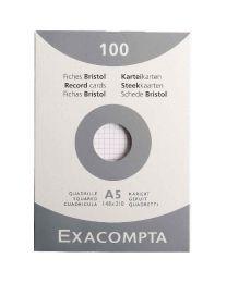 Exacompta - 13208E - Fiche bristol non perforée petit carreaux blanc 148x210mm - Paquet de 100