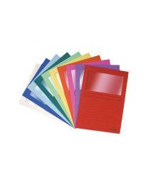 Exacompta - 50200E - Pochette coin en papier avec fenêtre couleur assortie - Paquet de 10