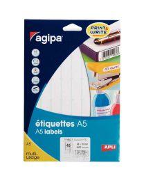 Agipa - 114021 - Etiquette adhésive blanche A5 - Format 15x35 mm - Etui de 640