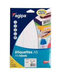 Agipa - 114016 - Etiquette adhésive blanche A5 - Format 19x38 mm - Etui de 480
