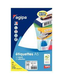 Agipa - 114014 - Etiquette adhésive blanche A5 - Format 25x48,5 mm - Etui de 320