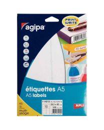 Agipa - 114019 - Etiquette adhésive blanche A5 - Format 38,5x65 mm - Etui de 160