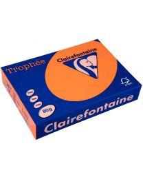 Clairefontaine - 4329 - Ramette papier A3 80g - Orange fluo - 100 Feuilles