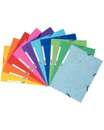 Exacompta - 55510E - Chemise 3 rabats a elastique carte lustrée assorties - Paquet de 10
