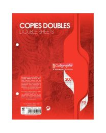 Clairefontaine - 5080 - Copie double grand carreaux blanc perforée - 17x22 cm - Sachet de 50
