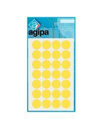 Agipa - 111844 - Pastille adhésif diamètre 15 mm - Jaune - Sachet de 168