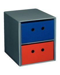 Module en carton gris équipé de 2 tiroirs Bleu et Rouge Superposable et modulable