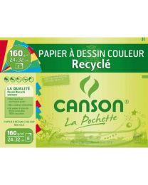 Papier Canson dessin recycle couleur vive 24x32 - Paquet de 8f