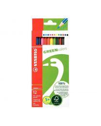 STABILO - Crayon de couleur greencolors en bois naturel - etui de 12