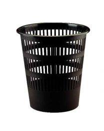 Corbeille a papier plastique ronde ajouree 16l noir