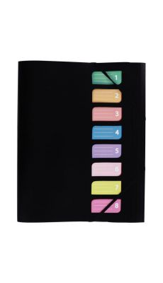 Trieur en polypropylène avec 3 rabats et élastiques 8 compartiments coloris noir