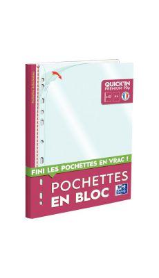 Bloc de 40 pochettes perforées A4 en polypropylène 9/100ème