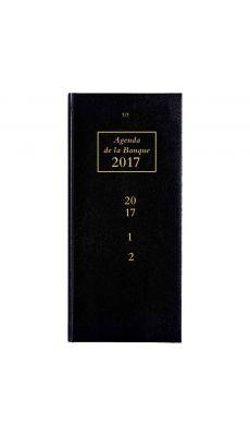Agenda banque long 15x34cm 2 volumes 2p/j f/c noir