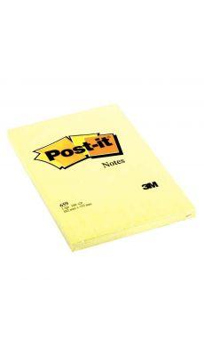 Post it repositionnable 102x152mm jaune uni - bloc de 100 feuilles