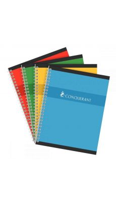 Conquerant - 100 102 827 - Cahier spirale grand carreaux - 17x22 cm - 100 Pages