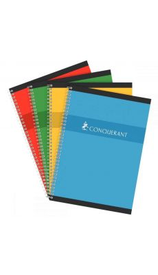 Conquerant - 100 102 398 - Cahier spirale grand carreaux - A4 - 100 Pages
