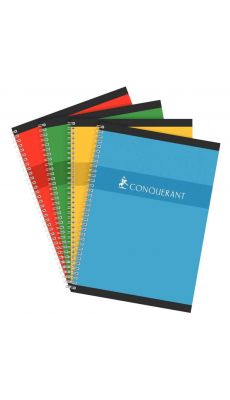 Conquerant - 100 104 456 - Cahier spirale grand carreaux - A4 - 180 Pages