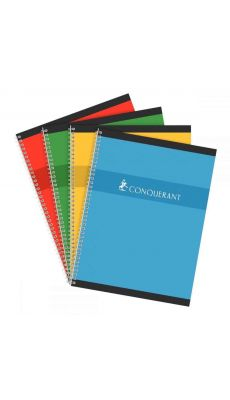 Conquerant - 100 103 996 - Cahier spirale grand carreaux - 24x32 cm - 180 Pages