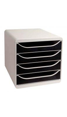 Exacompta - 310014 - Caisson 4 tiroirs Big box - Gris / Noir