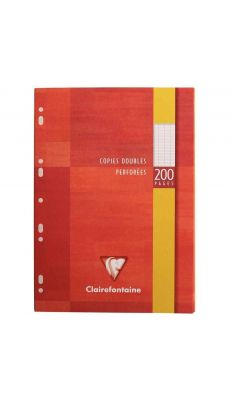 Clairefontaine - 4711 - Copie double grand carreaux perforée A4 blanc  - Etui de 50