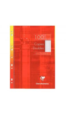 Clairefontaine - 479102 - Copie double grand carreaux perforée A4 blanc  - Etui de 100