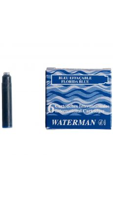 Mini cartouche waterman bleu - etui de 6