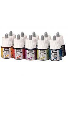 PEBEO - 355 - Encre a dessiner colorex assorti - boite de 10 flacon de 45ml