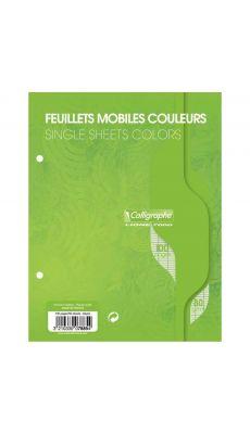 Clairefontaine - 1089 - Feuille mobile grand carreaux vert 17x22 cm - Sachet de 50